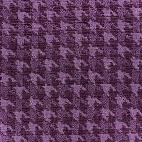 tissu jacquard pied de poule violet x 10cm
