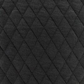 coupon 20cm x 160cm tissu jersey matelasse losanges 30 50 noir
