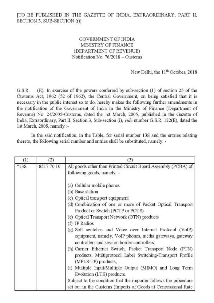 cs76-2018-page-001 (1) (1)  Govt hikes import duty on electronic items, telecom gear to ease pressure on rupee cs76 2018 page 001 1 1
