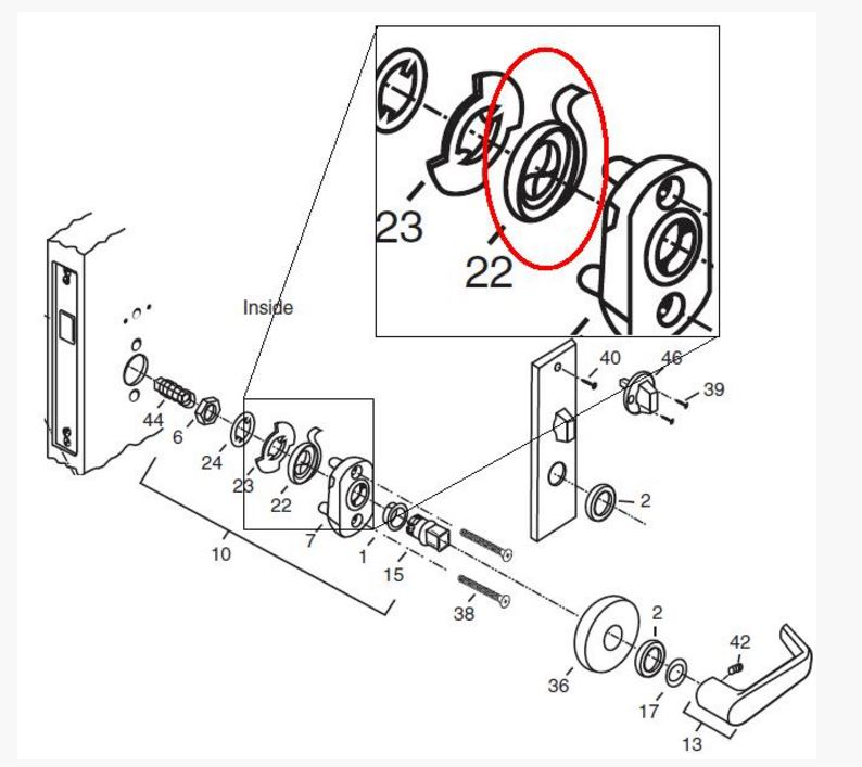 modern mortise lock diagram