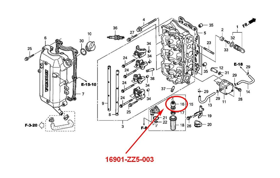 [HS_7679] Honda Outboard Cooling System Diagram Schematic