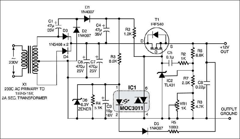 [HF_0730] Mosfet Regulator Circuit Schematic Wiring