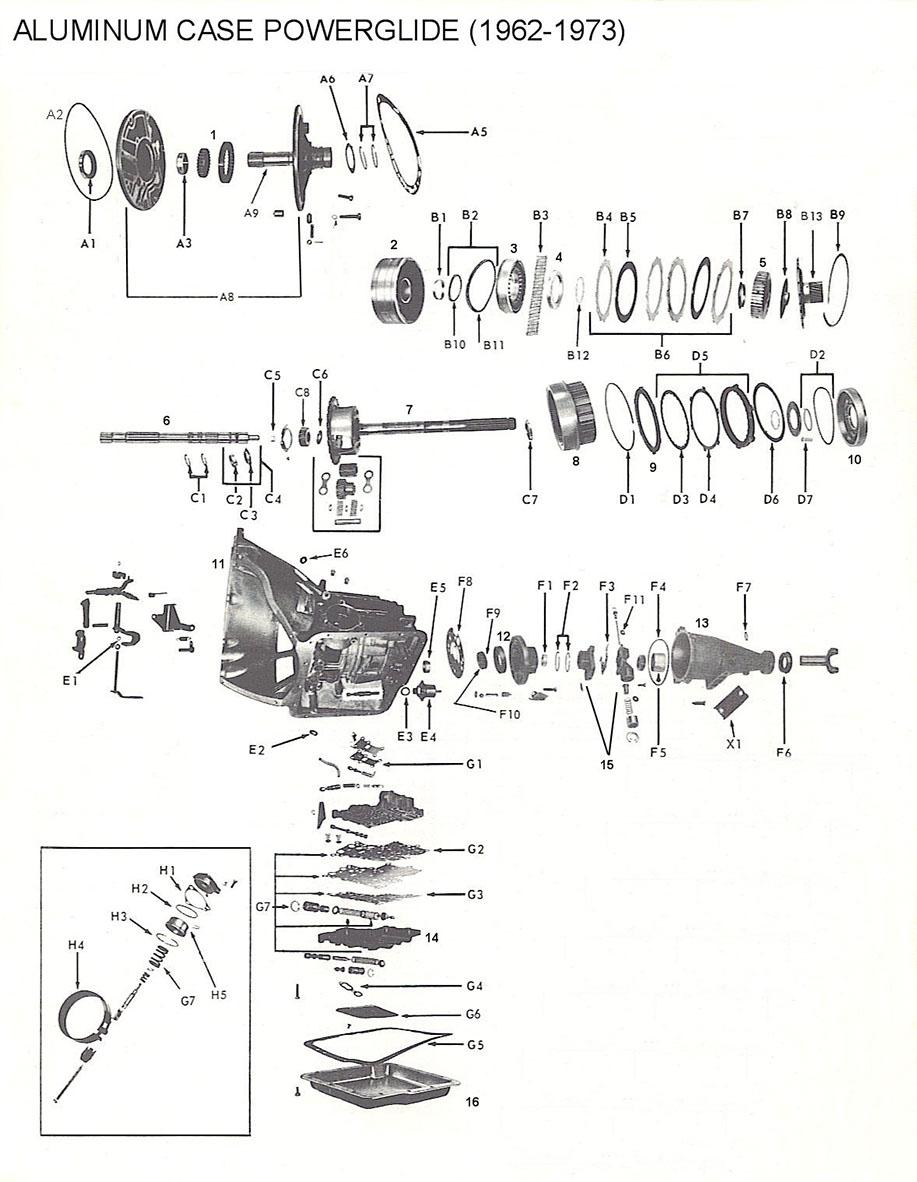 [RG_3151] Cast Iron Powerglide Transmission Diagram