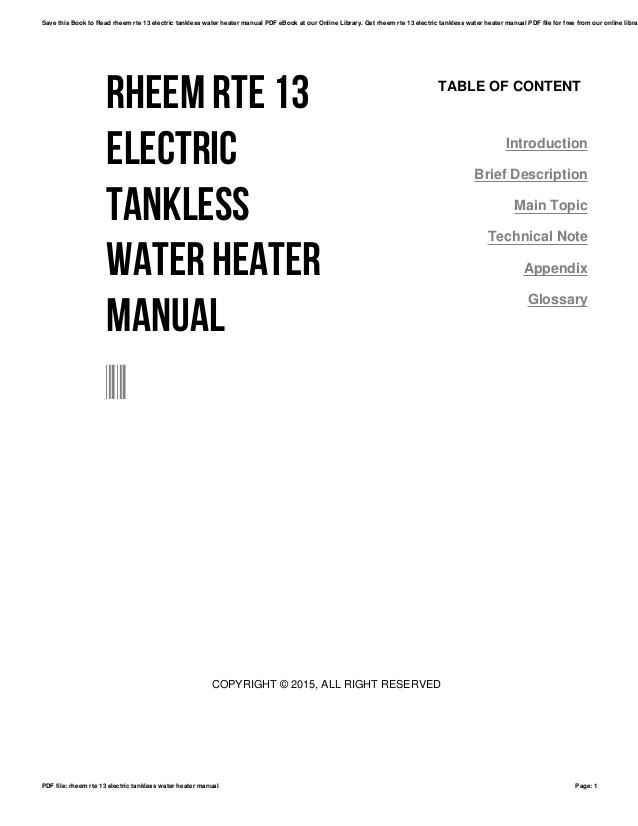 [Download 29+] Rheem Tankless Electric Water Heater Wiring