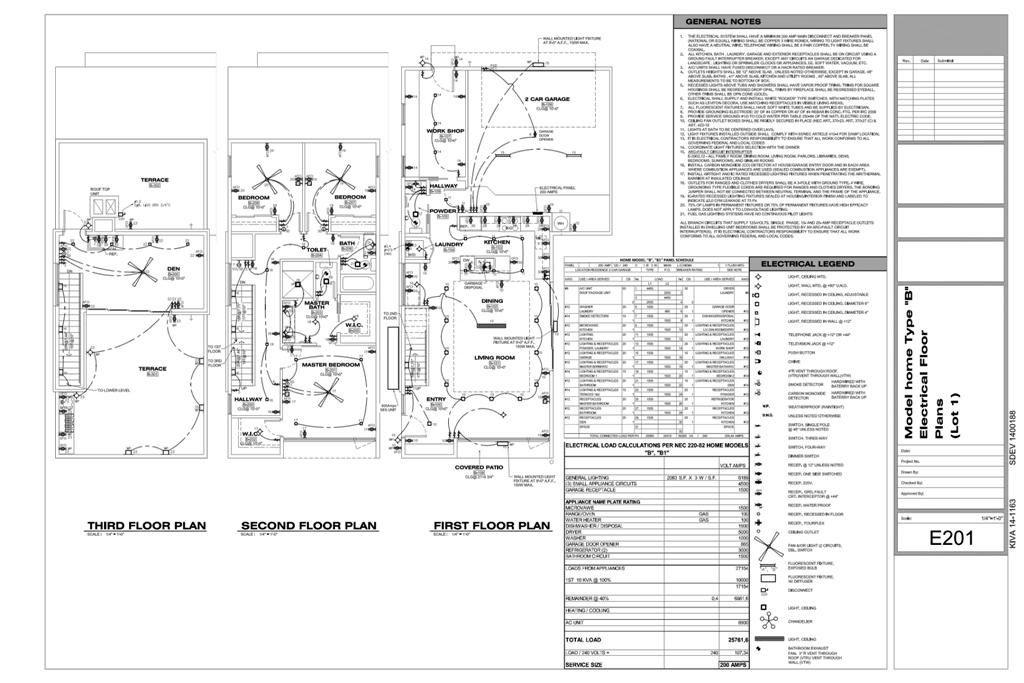 [HX_1231] Electrical Plan General Notes Wiring Diagram