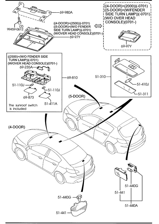 [BN_4468] Mazda Sunroof Replacement Parts Motor