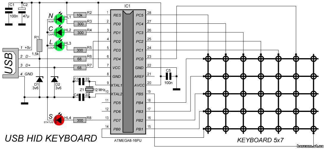 Keyboard Wiring Diagram Usb : Keyboard Wiring Diagram Usb