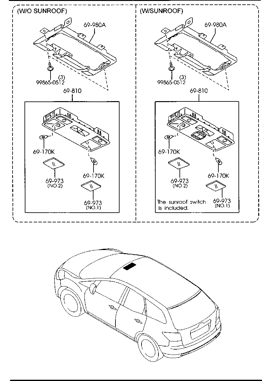 [YX_0543] Mazda Sunroof Replacement Parts Motor