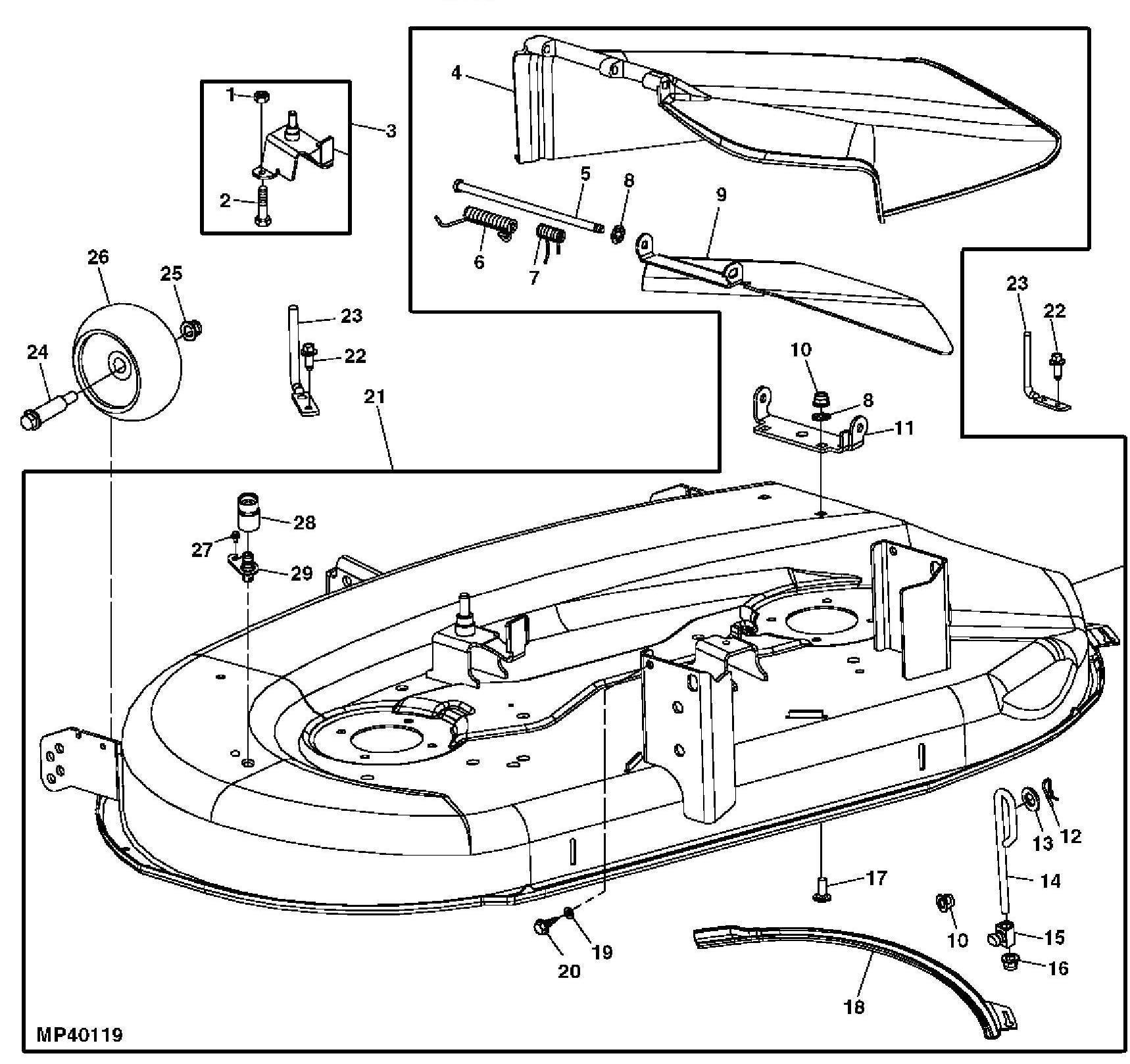 [BM_6384] John Deere X110 Deck Exploded Parts Diagram