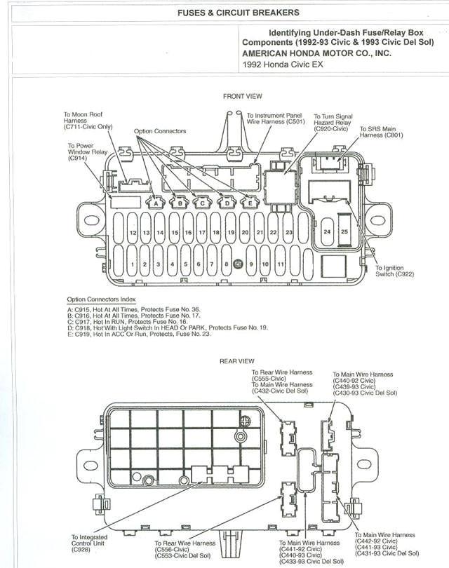 Civic 96 Fuse Box Diagram / 96 97 98 99 00 Honda Civic Oem