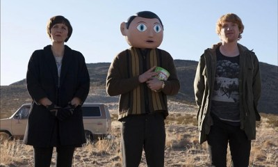 Michael Fassbender dons a massive papier mache head for Frank