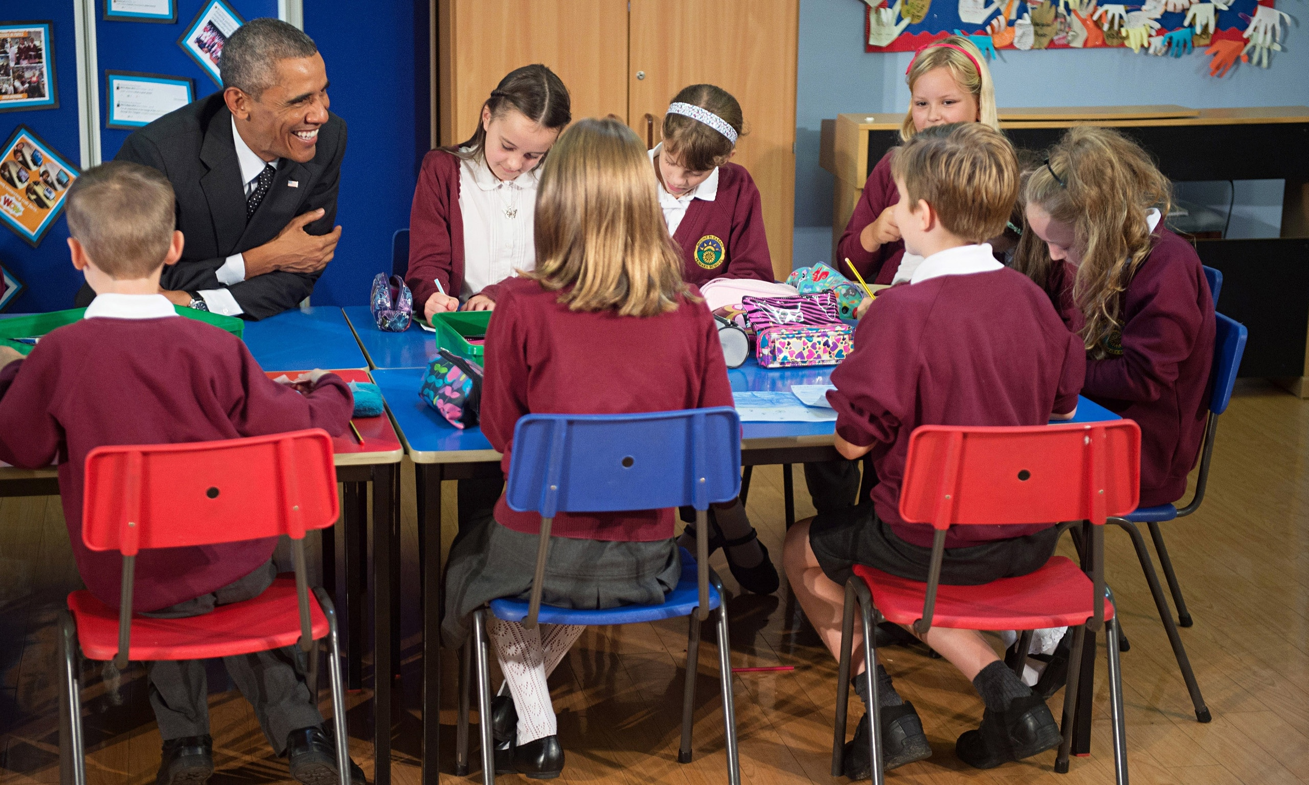 Barack Obama Visits A Newport Primary School And Greets Pupils In Welsh