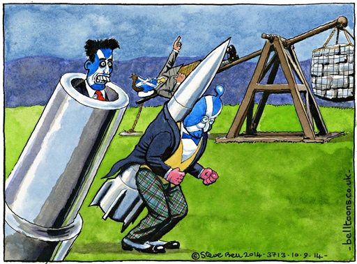 The Guardian's Steve Bell offers his verdict on the terrific threesome