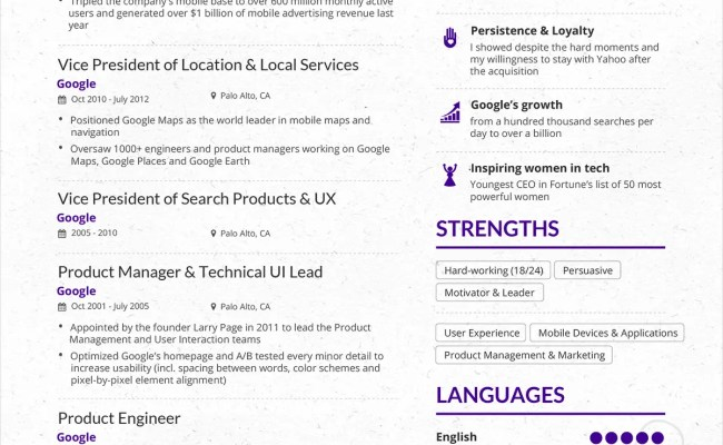 Here S A Resume For Marissa Mayer Would You Hire Her Miegames