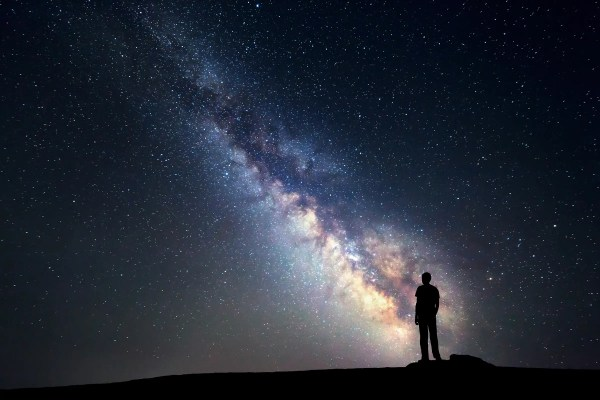People in the Night Sky Milky Way Galaxy