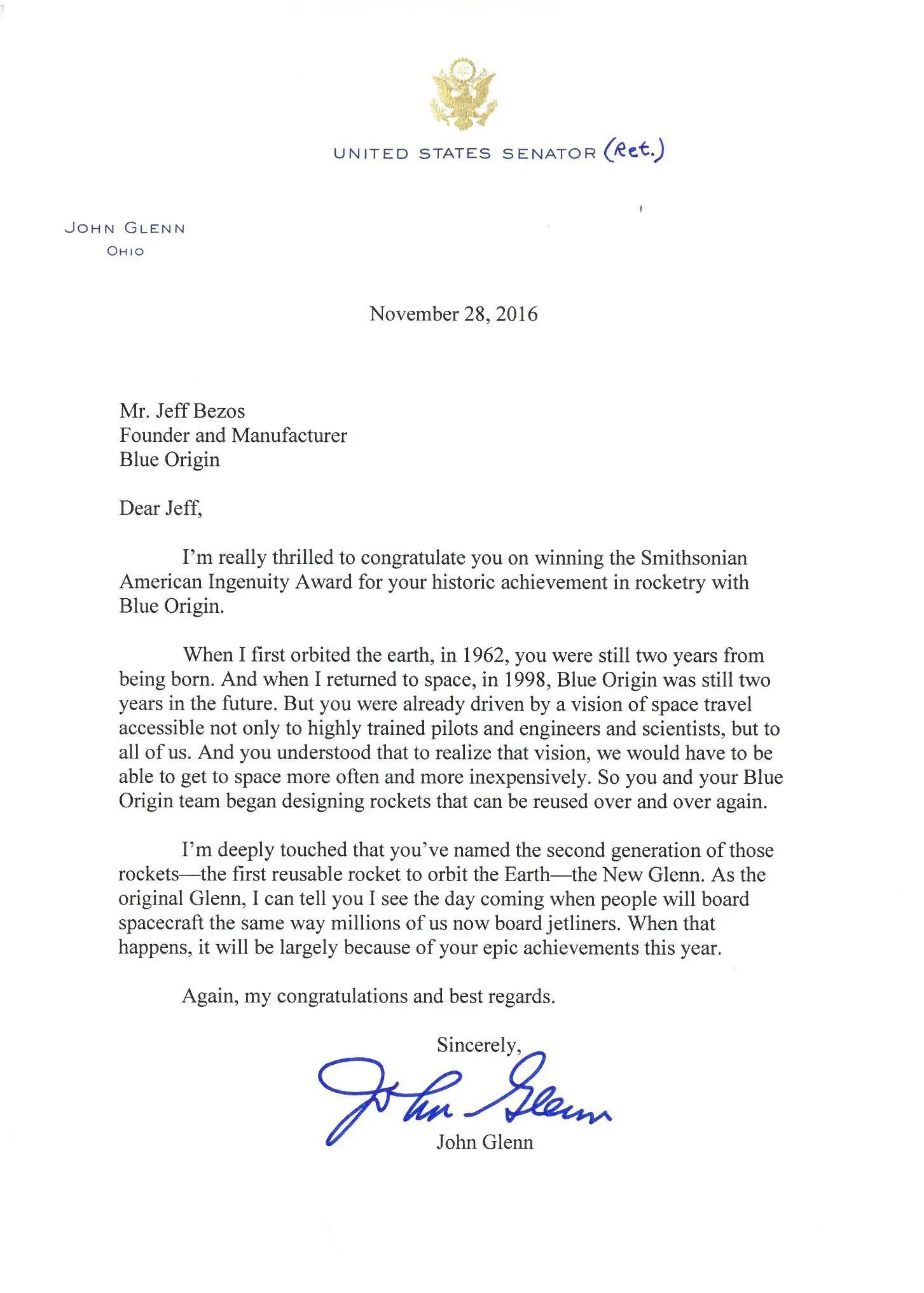 John Glenn Wrote Jeff Bezos A Beautiful Letter That He