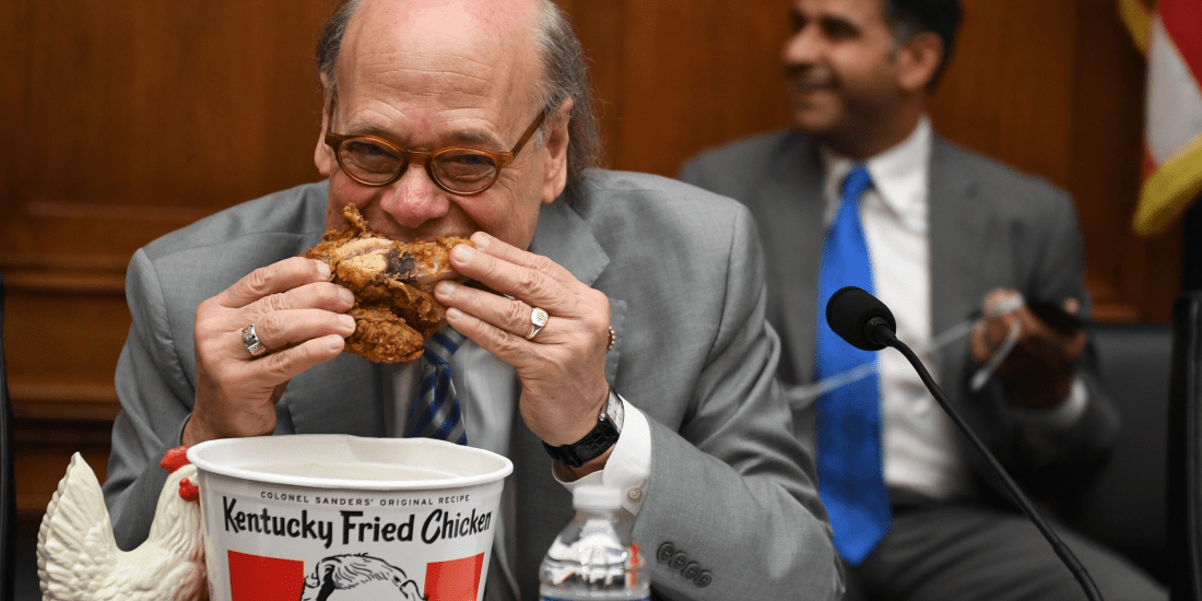Democratic representative formulates a brilliant during Bill Barr's congressional testimony by simply eating fried chicken.