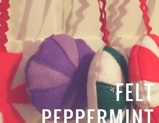 Felt peppermint Christmas ornaments