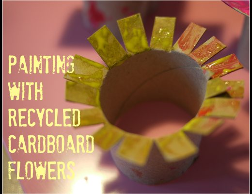 Painting with recycled cardboard flowers