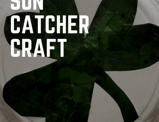 Shamrock sun catcher craft for St Patrick's Day