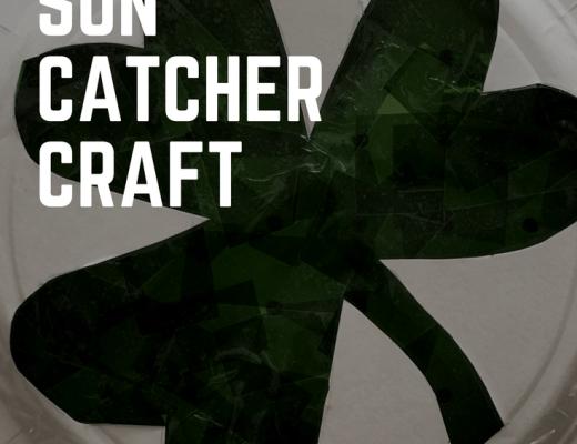 Shamrock sun catcher craft for St Patrick's Day