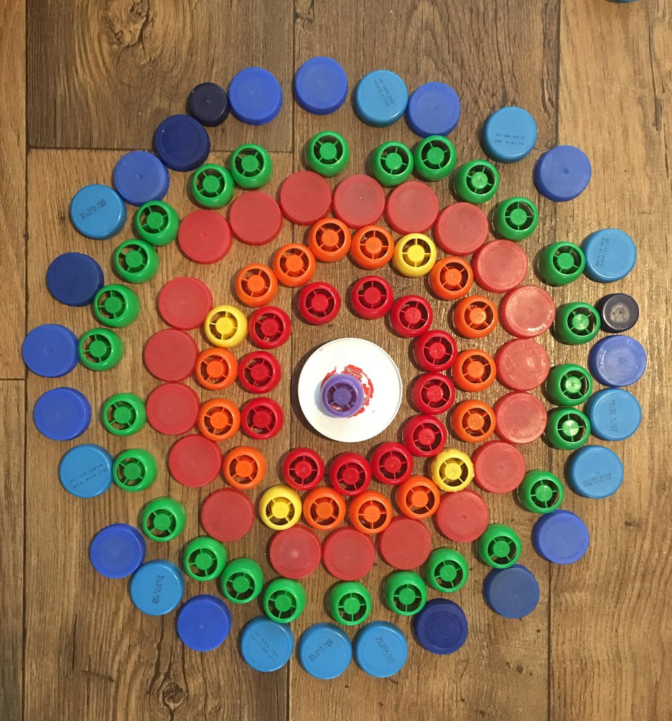 bottle top mandala for kids