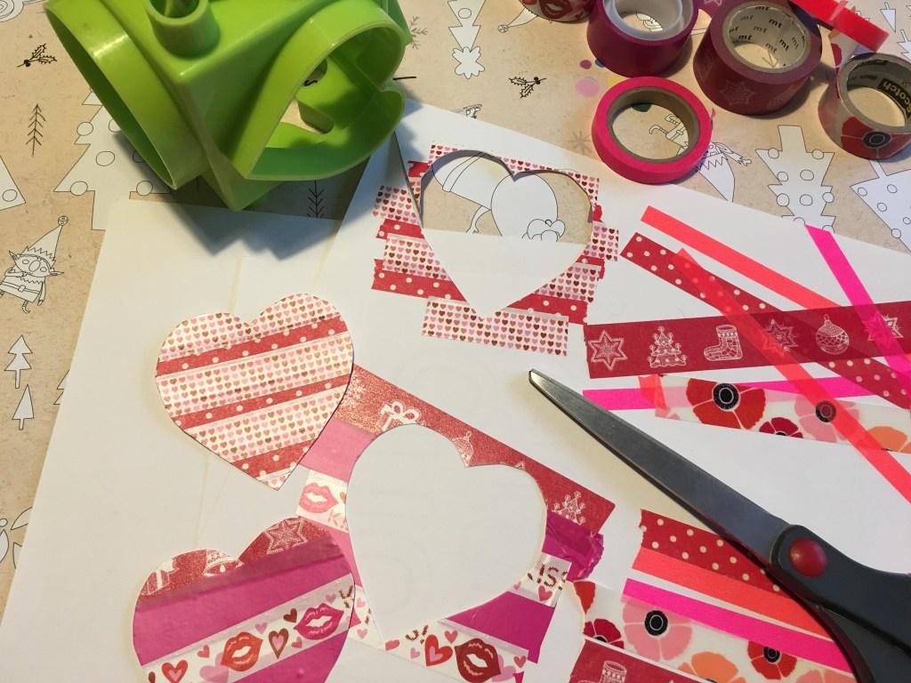 How to make Washi tape Valentine hearts