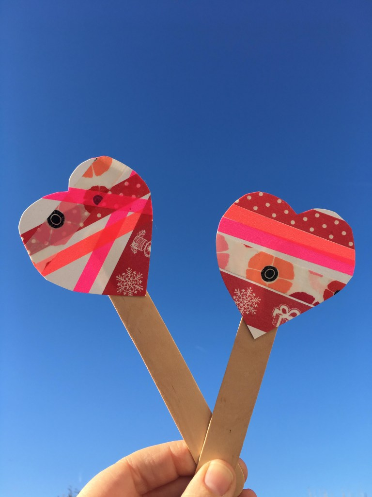 Washi tape Valentine heart bookmarks