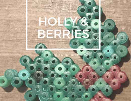 Hama bead holly and berries craft for kids