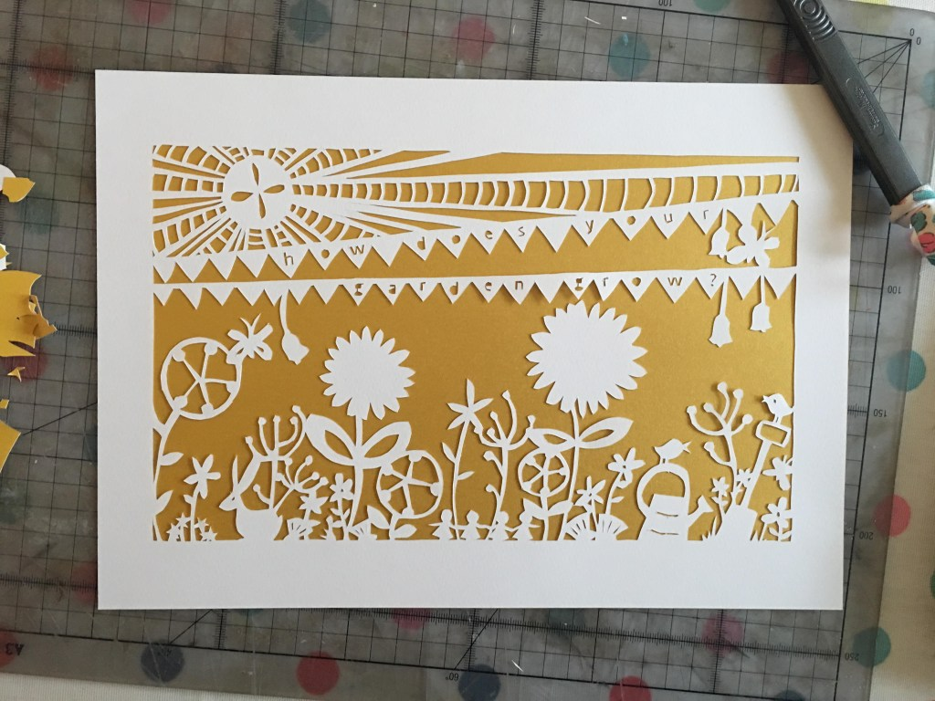 papercutting a garden picture