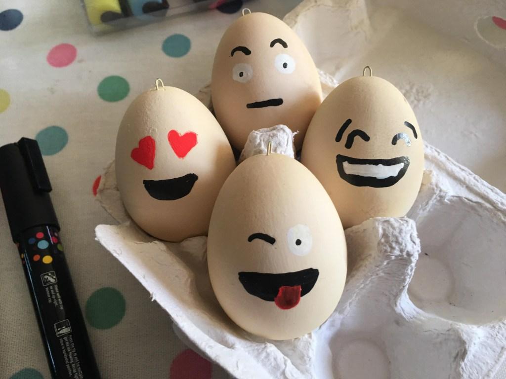 box of Emoji Easter eggs for kids