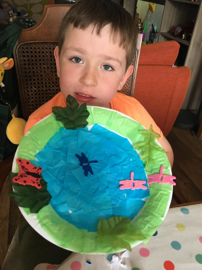 paper plate pond craft