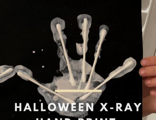 Halloween x-ray hand print craft