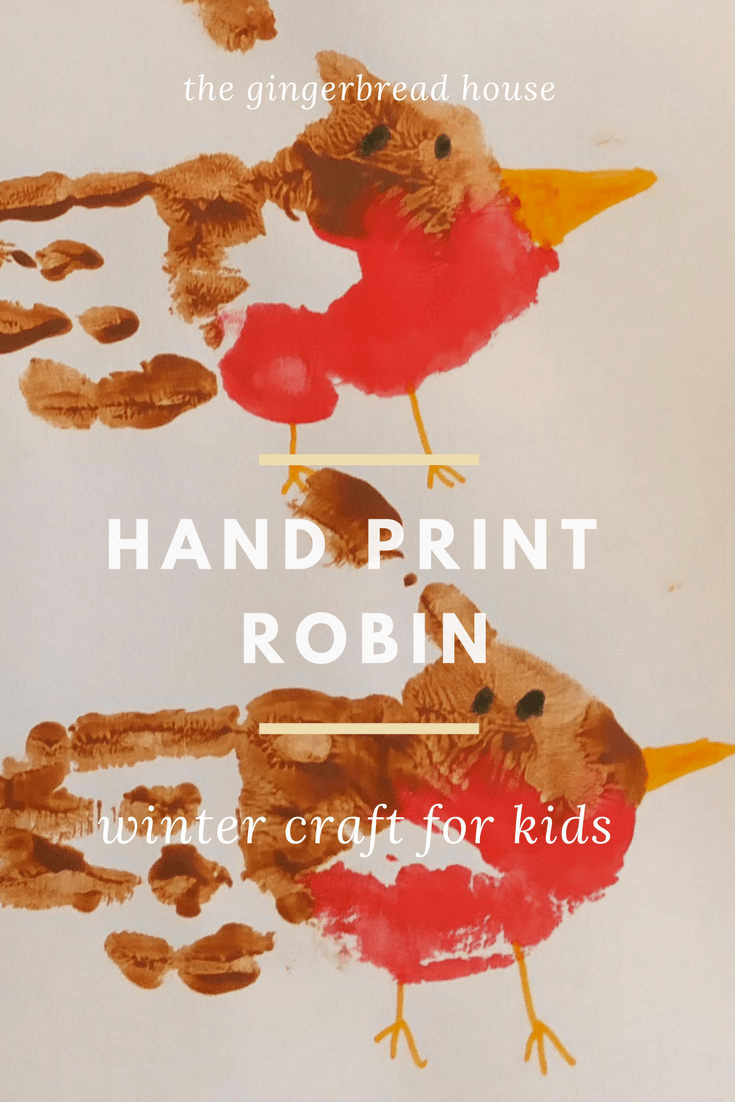 Handprint robin for winter