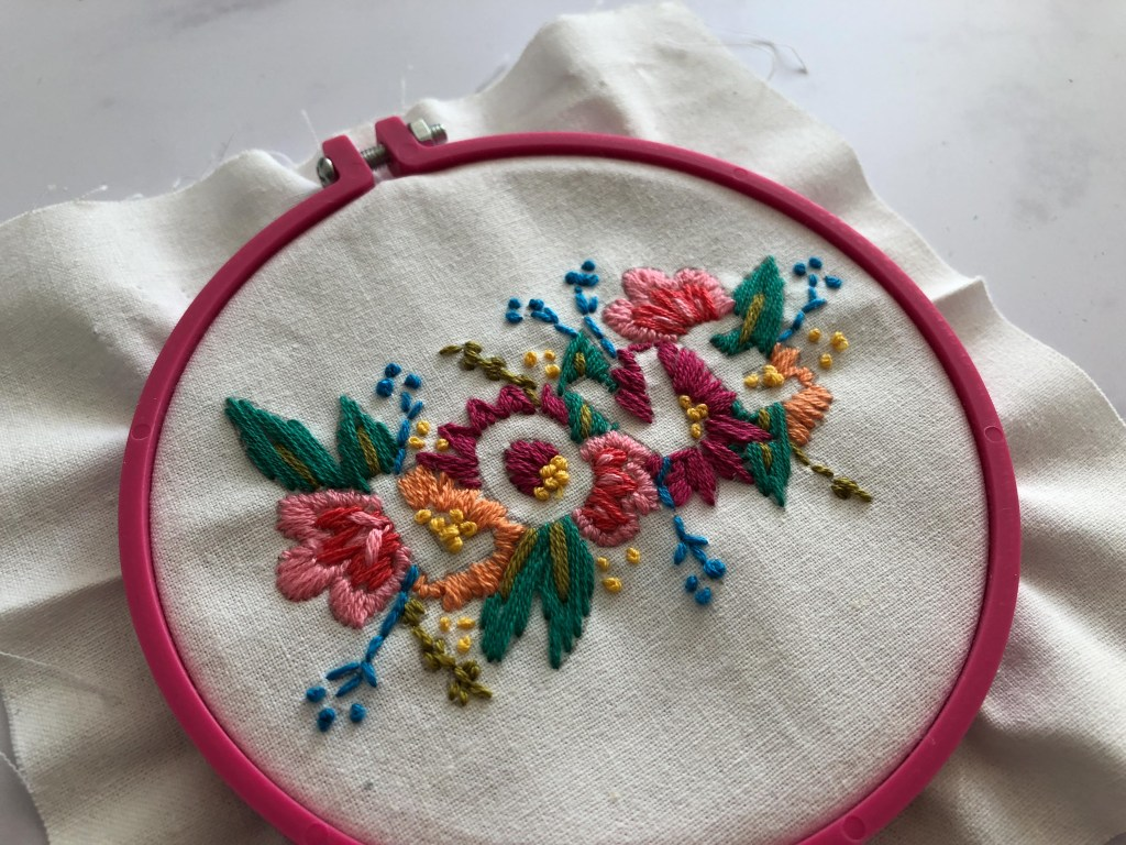 embroidered LOVE embroidery hoop