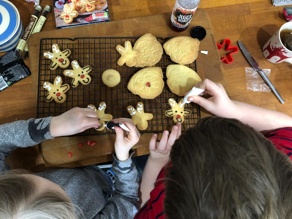 decorating reindeer biscuits