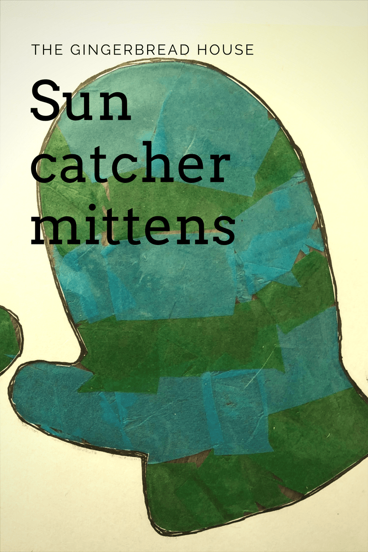 Sun catcher mittens using recycled paper crowns
