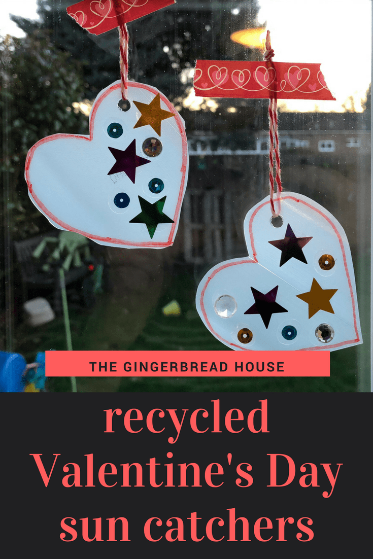 Easy recycled Valentine sun catchers for kids to make