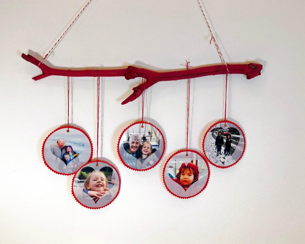 Handmade Valentine's decor using family photos
