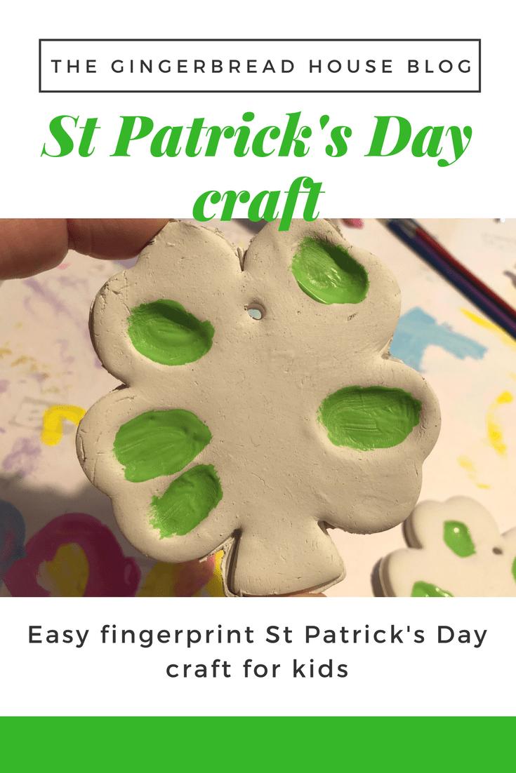 Clay fingerprint St Patrick's Day craft for kids
