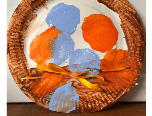 Paper plate Easter basket and sponge print eggs