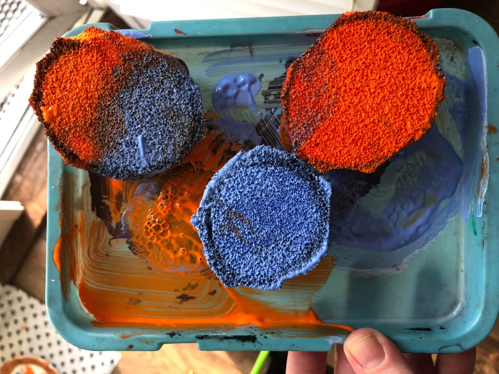 paint covered sponges