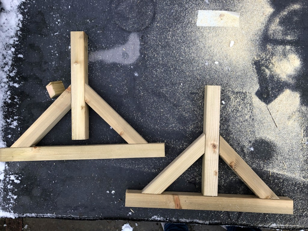 wooden legs for a Nerf target board