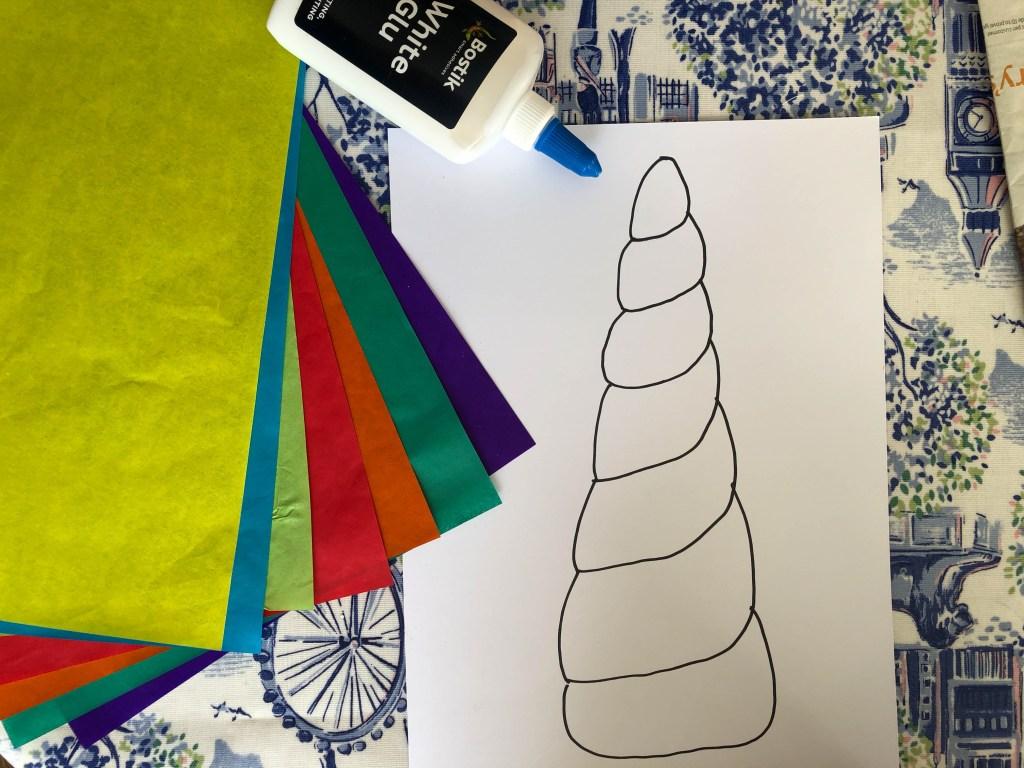 Tissue paper unicorn horn craft