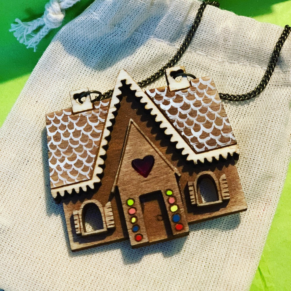 Kate Rowland gingerbread house necklace
