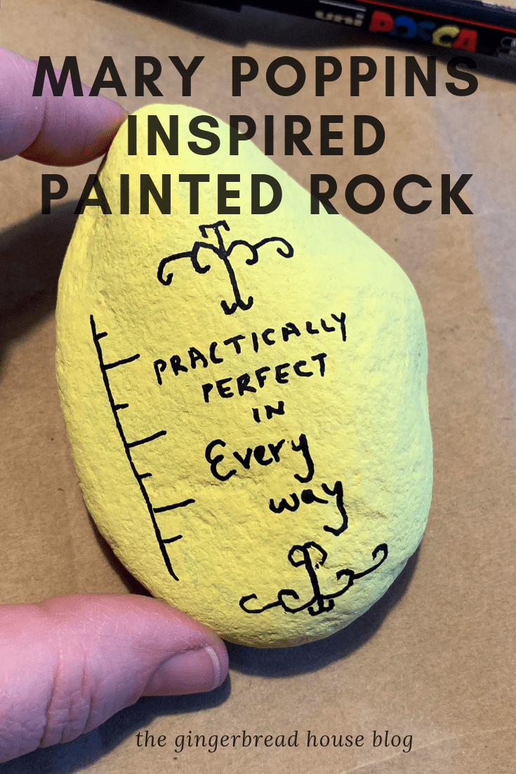 Mary Poppins inspired painted rock