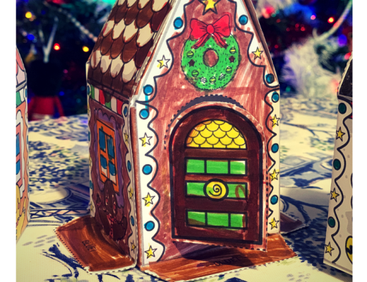 Paper gingerbread house activity {from Mrs Mactivity}
