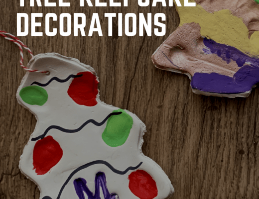 Clay fingerprint Christmas tree decorations for kids to make