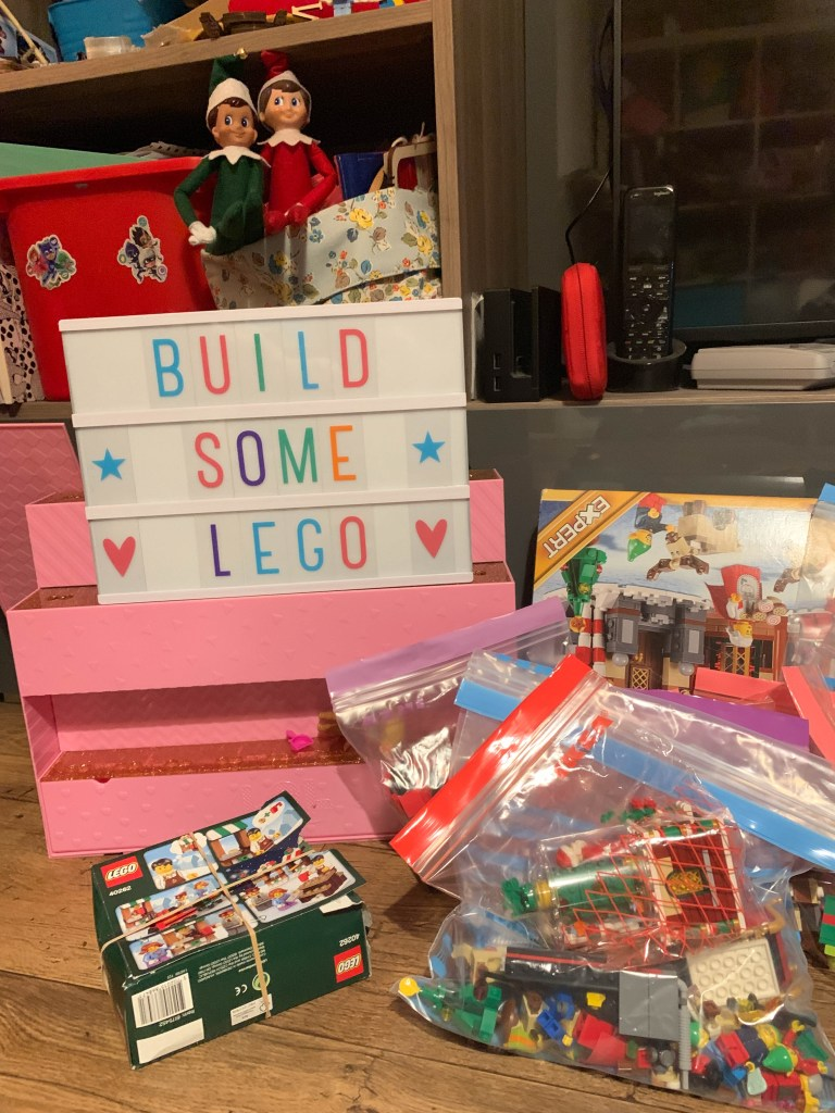 Elf on the Shelf invitation to play with Lego