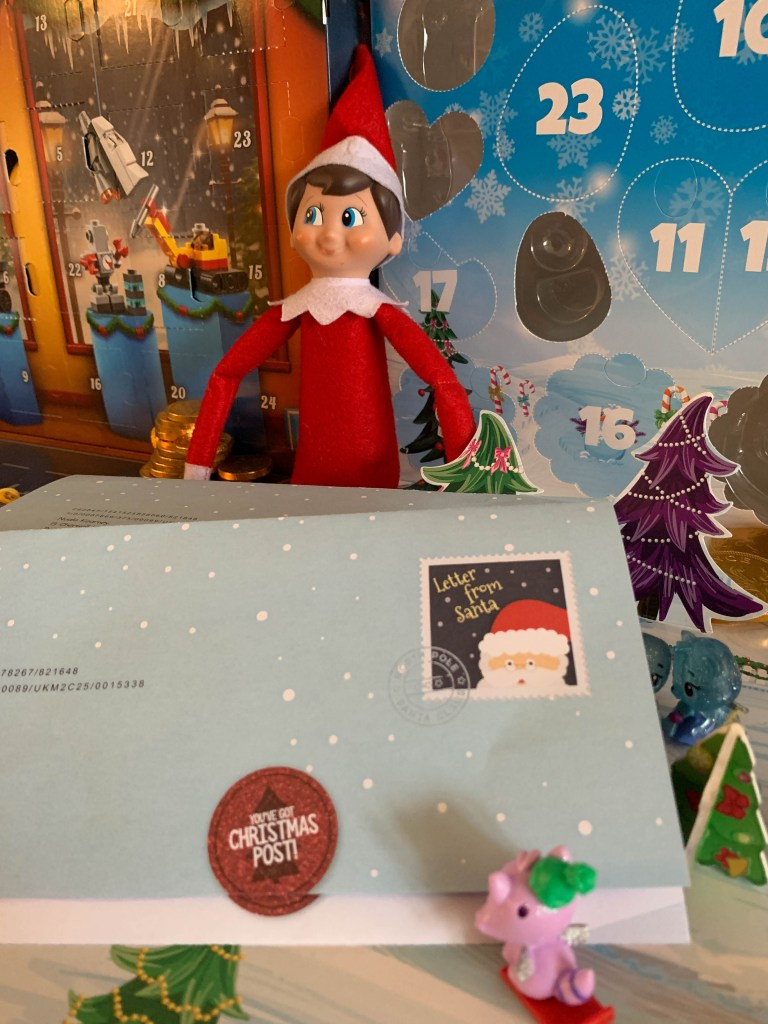 Elf on the Shelf delivering the Christmas letters